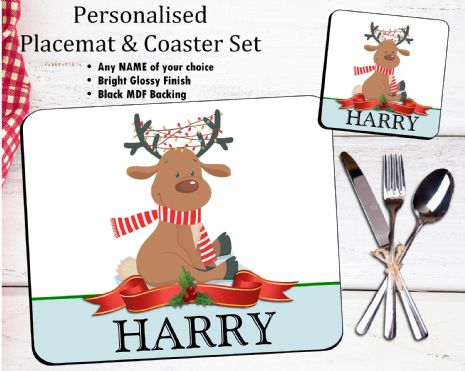 Personalised Christmas Table Placemat & Coaster Set N22